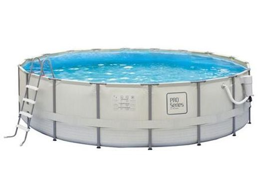 NB2041M 5-ft Round 48-in Deep Metal Frame Swimming Pool with PVC Ladder  Pool Cover Maintenance Kit and Skimmer Plus Filtration System in Light